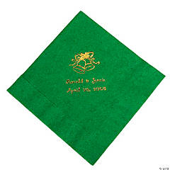 Personalized Gold Green Wedding Lunch Napkins
