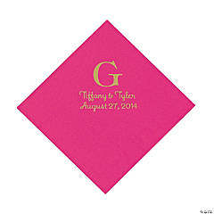 Personalized Gold Monogram Luncheon Napkins - Hot Pink