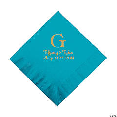 Personalized Gold Monogram Luncheon Napkins - Turquoise