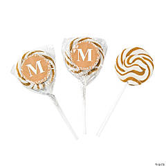 Personalized Gold Monogram Swirl Lollipops