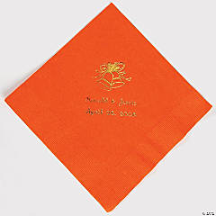 Personalized Gold Orange Wedding Luncheon Napkin