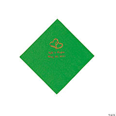 Personalized Gold Two Hearts Beverage Napkins - Green