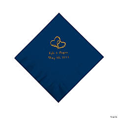Personalized Gold Two Hearts Beverage Napkins - Navy