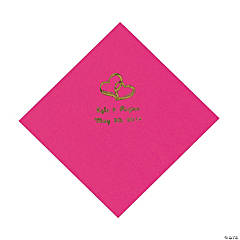 Personalized Gold Two Hearts Luncheon Napkins - Hot Pink