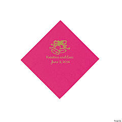 Personalized Gold Wedding Bell Beverage Napkins - Hot Pink