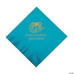Personalized Gold Wedding Bell Luncheon Napkins - Turquoise