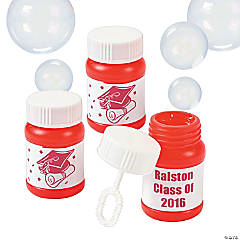 Personalized Graduation Red Mini Bubble Bottles