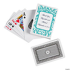 Personalized Green & White Playing Cards