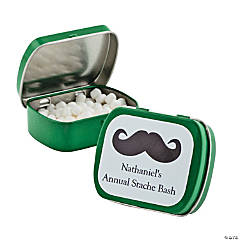 Personalized Green Mustache Mint Tins