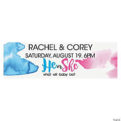 Personalized He or She Gender Reveal Vinyl Banner