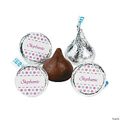 Personalized Hershey® Kisses® Pink Polka Dot Chocolate Candy