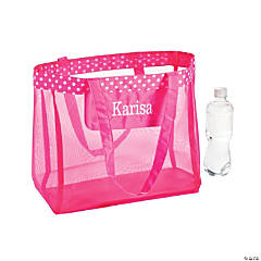 Personalized Hot Pink Mesh Tote Bag with White Thread Embroidery