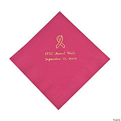 Personalized Hot Pink Ribbon Luncheon Napkins - Gold Print