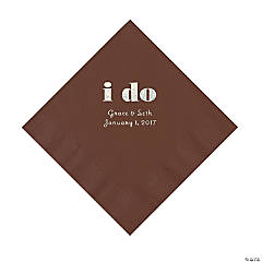 Personalized I Do Chocolate Brown Luncheon Napkins with Silver Print