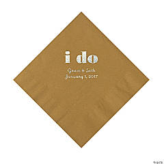 Personalized I Do Gold Luncheon Napkins with Silver Print