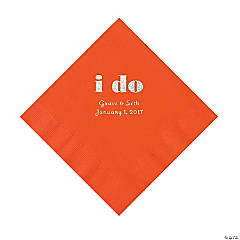 Personalized I Do Orange Luncheon Napkins with Silver Print
