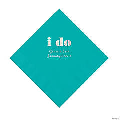 Personalized I Do Teal Luncheon Napkins with Silver Print