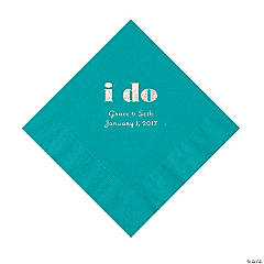 Personalized I Do Turquoise Luncheon Napkins with Silver Print