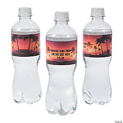 Personalized Island Luau Water Bottle Labels