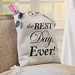 Personalized Large Best Day Ever Canvas Tote Bag