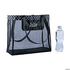 Personalized Large Black Mesh Tote Bag