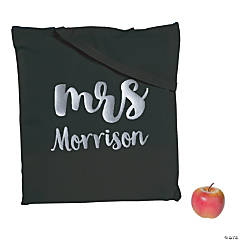 Personalized Large Black Mrs. Canvas Tote Bag with Silver Metallic Lettering