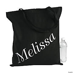 Personalized Large Black Name Canvas Tote Bag