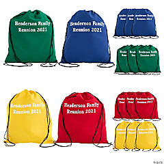 Personalized Large Bright Canvas Drawstring Backpacks