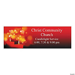 Personalized Large Candlelight Christmas Vinyl Banner
