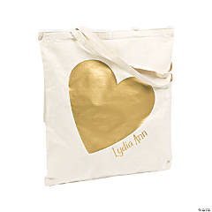 Personalized Large Gold Metallic Heart Tote Bag