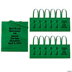 Personalized Large Green Tote Bags with Text Color Choice