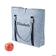 Personalized Large Grey Purse Tote Bag