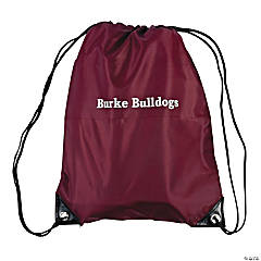 Personalized Large Maroon Drawstring Bags