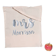 Personalized Large Mrs. Canvas Tote Bag with Silver Metallic Lettering