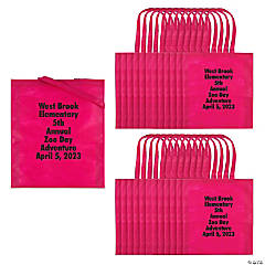 Personalized Large Pink Tote Bags with Text Color Choice