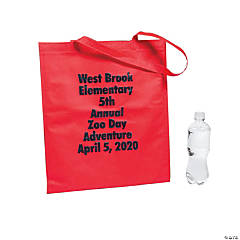 Personalized Large Red Tote Bags with Text Color Choice