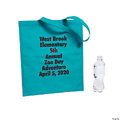 Personalized Large Teal Tote Bags with Text Color Choice