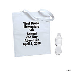 Personalized Large White Tote Bags with Text Color Choice