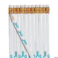 Personalized Light Blue Awareness Ribbon Pencils