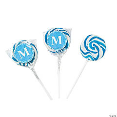 Personalized Light Blue Monogram Swirl Lollipops