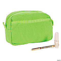Personalized Lime Green Waffle Weave Cosmetic Bag