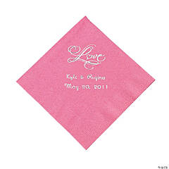 "Personalized ""Love"" Beverage Napkins - Candy Pink"
