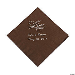 "Personalized ""Love"" Beverage Napkins - Chocolate"