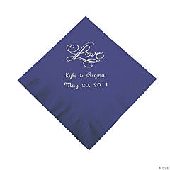 "Personalized ""Love"" Beverage Napkins - Purple"