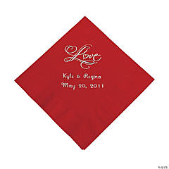 "Personalized ""Love"" Beverage Napkins - Red"