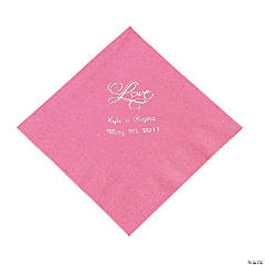 "Personalized ""Love"" Luncheon Napkins - Candy Pink"