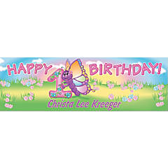 Personalized Medium 1st Birthday Butterfly Vinyl Banner