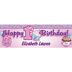 Personalized Medium 1st Birthday Cupcake Vinyl Banner