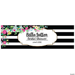 Personalized Medium Black & White Stripe Bridal Shower Vinyl Banner