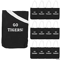 Personalized Medium Black Canvas Tote Bags